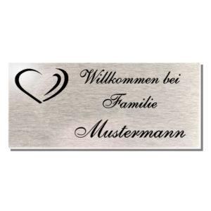 Edelstahl Türschild Familie / Namensschild Haustür Klingelschild 100x45 mm