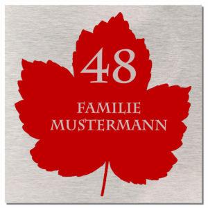 Edelstahl Familien Türschild mit Gravur Türschild Klingelschild mit Ahornblatt 100x100 mm