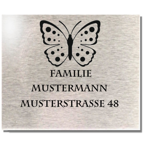 Edelstahl Türschild mit Namen Klingelschild Motiv Schmetterling 100x90 mm