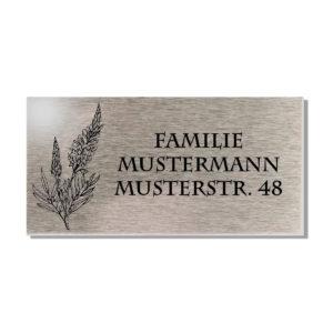 Namensschild Edelstahl Briefkastenschild mit Gravur Türschild Motiv Blätter 100x50 mm