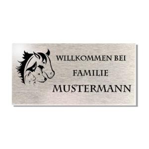 Namensschild Edelstahl Türschild Motiv Hund/Katze/Pferd & Herz 100x50 mm