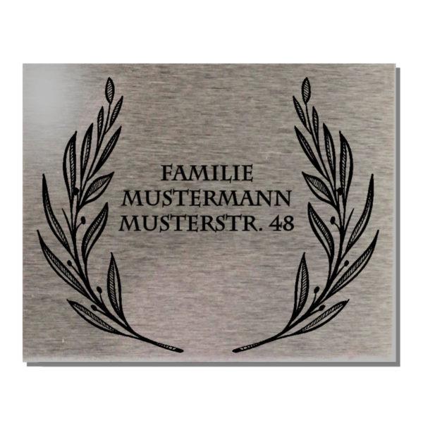Edelstahl Familien Türschild Klingelschild Motiv Lorbeer 100x80 mm