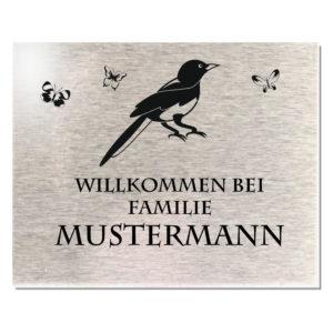 Edelstahlschild mit Gravur, Türschild Namenschild Motiv Vogel 100x80 mm