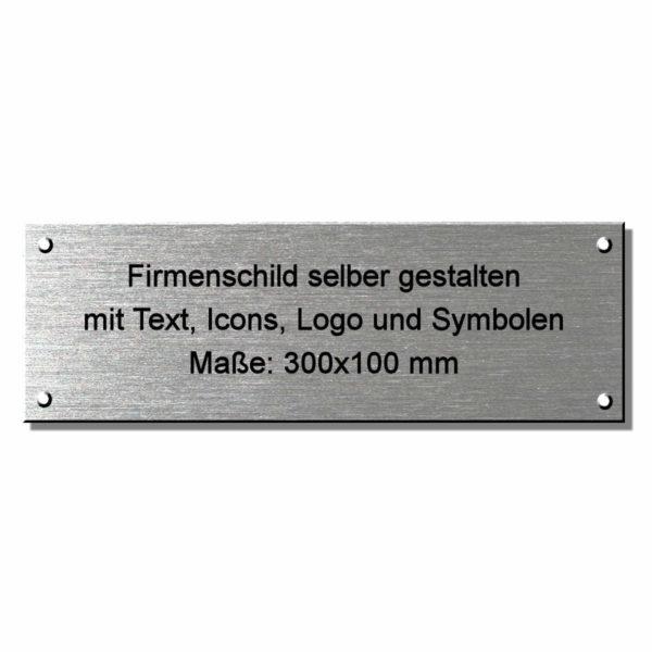 Metallschilder: Firmenschild online gestalten 300x100 mm