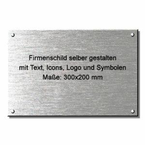 Firmenschild Edelstahl online gestalten 300x200 mm