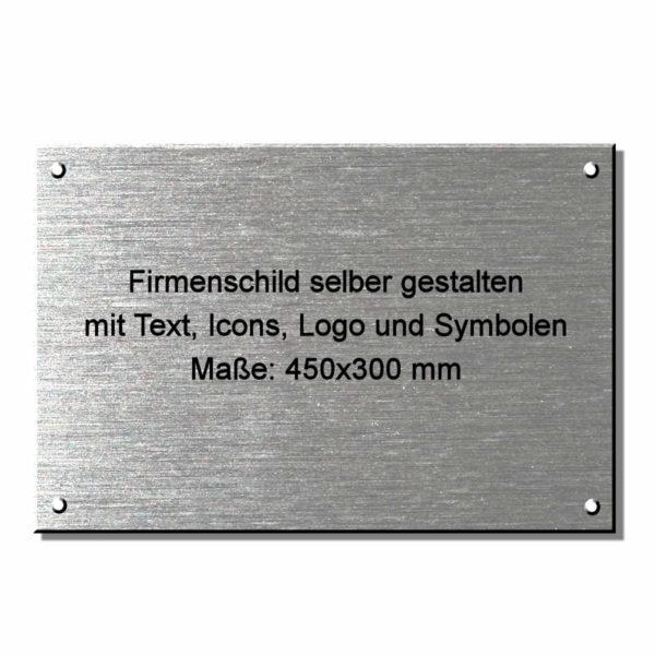 Edelstahl Firmenschild gestalten 450x300 mm