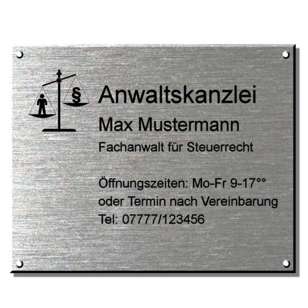 Rechtsanwalt Schild Kanzleischild 250x200 mm 4-Bohrungen