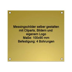 Messing Schild mit Gravur 100x90 mm 4-Bohrungen