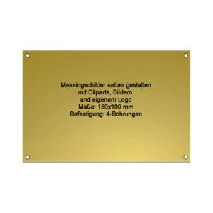 Messing Schild mit Gravur 150x100 mm 4 Bohrungen