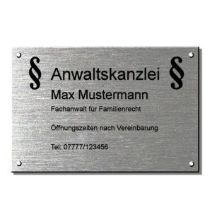 Schild Rechtsanwalt Kanzleischild, Anwaltsschild Maße: 450x300 mm