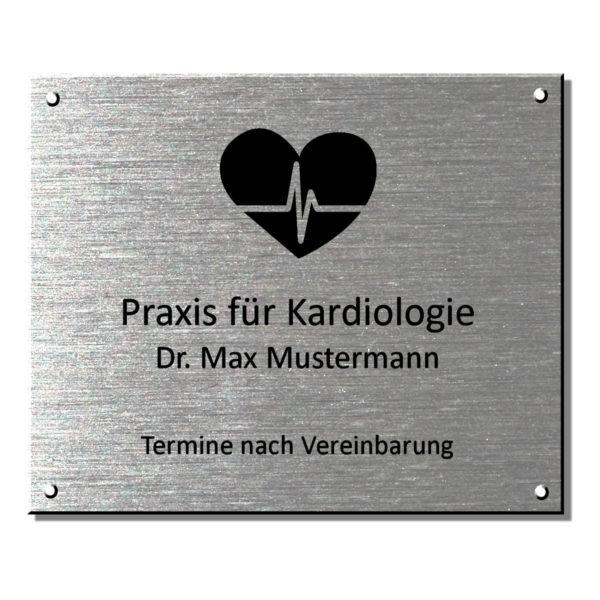 Praxisschild Arztschild Edelstahl 550x450 mm Materialstärke: 4 mm