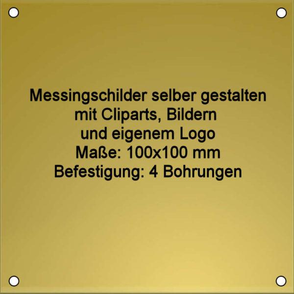 Messing Schilder mit Gravur 100x100 mm 4-Bohrungen