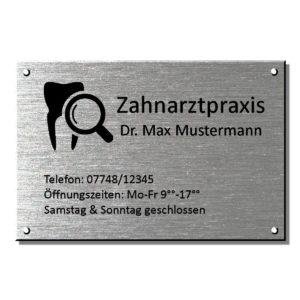 Praxisschild Zahnarzt, Arztschild Maße: 300x200 mm Materialstärke: 4mm
