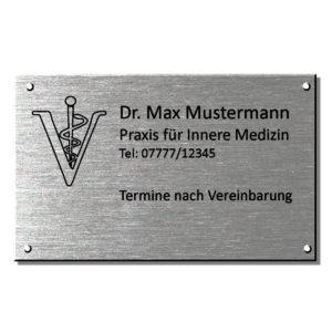 Arztschilder und Praxisschilder, Edelstahl Maße: 350x200 mm Materialstärke: 4 mm
