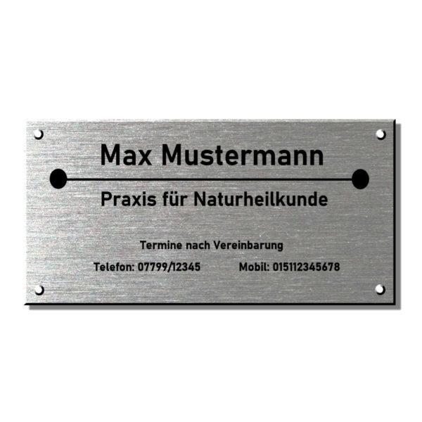 Praxisschilder Heilpraktiker Edelstahl Maße: 400x200 mm 4 Bohrungen