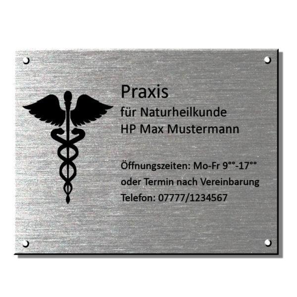 Praxisschild Arztschild Edelstahl Maße: 450x350 mm Materialstärke: 4 mm