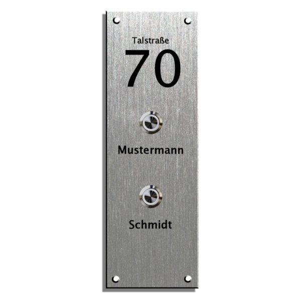 Klingelschild Edelstahl, Klingelplatte mit LED Klingeltaster Maße: 100x300 mm 4 Bohrungen