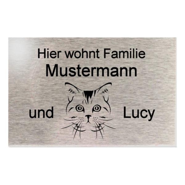 Edelstahl Namensschild Türschild Metall Briefkastenschild mit Katzen Icon 100x65 mm