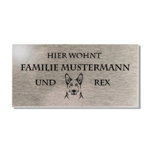 Namensschild Edelstahl Gravur / Briefkastenschild mit Hunde Icon 100x50 mm