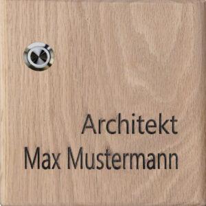 Klingelschild aus Holz mit Gravur und LED Beleuchtung Maße: 155x155x25 mm