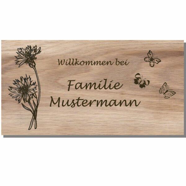 Holzschild mit Namen und Gravur Maße: 250x130 mm