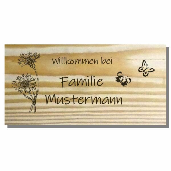 Holzschild mit Spruch und Gravur