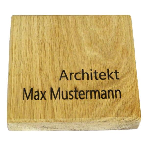"""Massives Holzschild """"Willkommen"""" mit Gravur aus massiv Eichenholz, Maße:155x155x25 mm"""