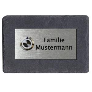 Klingelschild Schiefer Edelstahl mit Gravur und LED Klingeltaster Maße: 150x100 mm