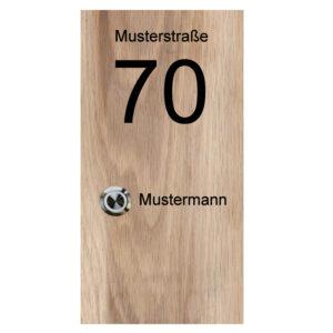 Klingelplatte aus Holz (massiv Eiche) mit Gravur und LED Klingeltaster Maße: 130x250x25 mm
