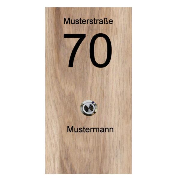 Klingelplatte aus Holz (massiv Eiche) mit Gravur und LED Klingeltaster Maße: 130x250x25 mm mitte