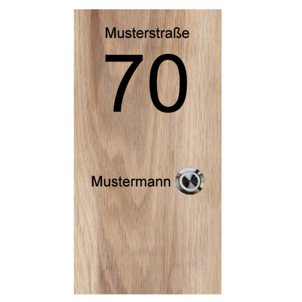 Klingelplatte aus Holz (massiv Eiche) mit Gravur und LED Klingeltaster Maße: 130x250x25 mm rechts