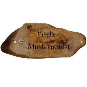 Oliven Holzscheibe mit Gravur und LED Klingeltaster Maße: 380x160 mm