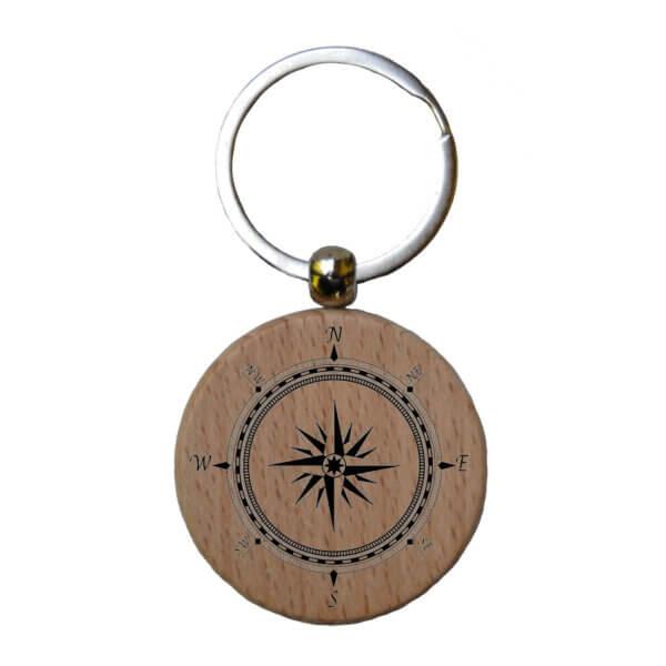 Personalisierter Schlüsselanhänger aus Holz mit Gravur Rückseite